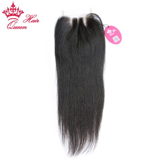 Queen Hair Products Lace Closure Straight Virgin Hair Natural Color 100% Human Hair Three Part Free Shipping