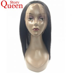 "Queen Story Hair Peruvian Straight Hair 360 Lace Frontal Closure Pre Plucked Free Part Natural Color 10"" to 22"" Remy Human Hair"