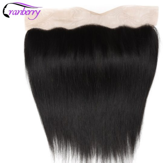 Hair Peruvian Straight Hair Ear to Ear Lace Closure Frontal  Free Part Remy Human Hair Lace Frontal Sew In Double Weft