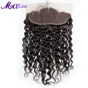 Maxine Hair Remy Human Hair Water Wave Pre Plucked 13x4 Ear To Ear Lace Frontal Closure With Baby Hair 10-20inch Natural Color