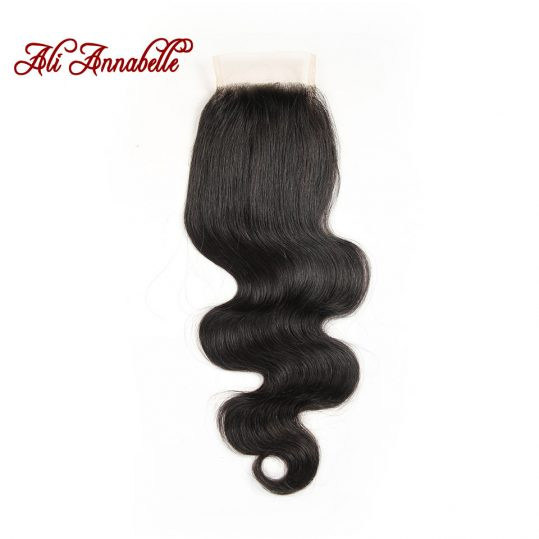 ALI ANNABELLE HAIR Brazilian Body Wave Lace Closure Free Part 4*4  Brazilian Remy Human Hair Closure From 10 to 22 inch