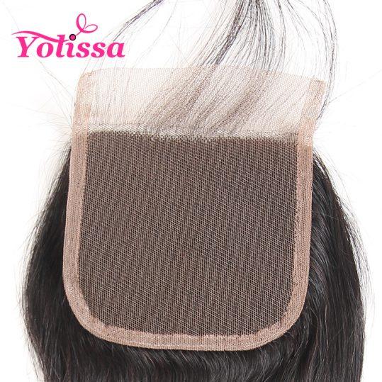 Yolissa Brazilian Body Wave Lace Closure Free Part 4''x 4'' Closure Natural Color 100% Human Hair Free Ship non-Remy Hair