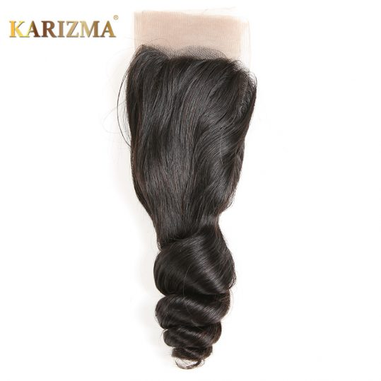 Karizma Loose Wave Lace Closure 4*4 Free Part Swiss Lace 100% Remy Human Hair Natural Color 10-18inches 1 Piece