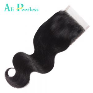 "Ali Peerless Hair Body Wave Lace Closure 4""*4"" Free Part Closure Natural Color 100% Virgin Human Hair Free Shipping"