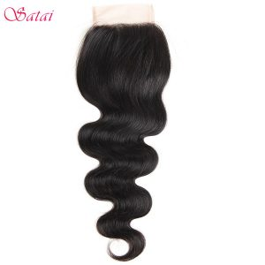 "Satai Hair 4*4"" Lace Closure Body Wave 100% Human Hair 10-18 inch Natural Color Remy Hair 1 Piece Only Free Shipping"