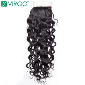 Volys Virgo Remy Hair Swiss Lace Closure Water Wave  4x4'' Free Part Human Hair 130% Density Natural Color Can Be Restyled