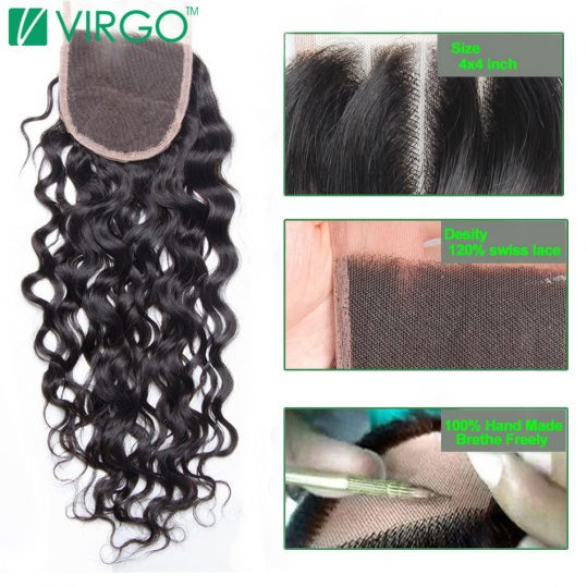 Virgo Remy Hair Swiss Lace Closure Water Wave  4x4'' Free Part Human Hair 130% Density Natural Color Can Be Restyled
