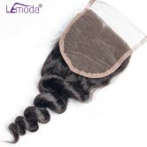 LeModa 4x4 Loose Wave Lace Closure Free Shipping 1pc Remy Hair Closure 130% Density Human Hair Closure