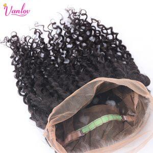 Vanlov Water Wave 360 Lace Frontal With Baby Hair Free Part Closure Natural Hairline 100% Non Remy Human Hair Natural Color