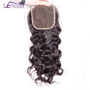 Lemoda Hair Brazilian Water Wave Lace Closure 130% Density Human Hair Extension top Closures free part Remy Hair Closure