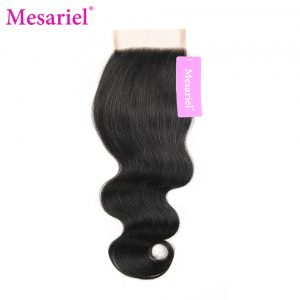 Mesariel Brazilian Non-Remy Hair 100% Human Hair Free Shipping Natural Black Color Body Wave Free Part Closure