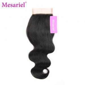 Mesariel Brazilian Non-Remy Hair 100% Human Hair Free Shipping Natural Black Color Body Wave Free Part Closure