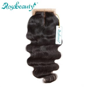 Rosabeauty Middle Part Silk Base Closure Brazilian Body Wave with Bleached Knots 100% Human Remy Hair
