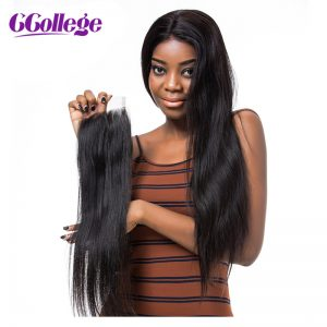 CCollege Hair Peruvian Straight Hair Lace Closure Middle Part 4*4 Bleached Knots Swiss Lace 100% Human Virgin Hair Closure