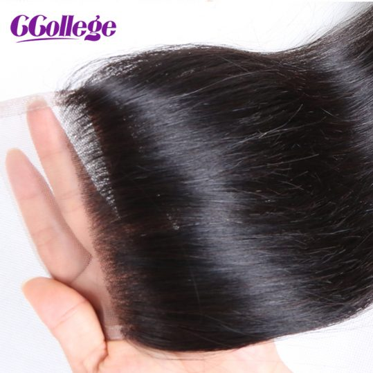 CCollege Hair Peruvian Straight Hair Lace Closure Middle Part 4*4 Bleached Knots Swiss Lace 100% Human Virgin Hair Closure