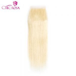 CHIC ROSA Brazilian Straight Closure Blonde  Hair #613 Remy hair Platinum Blonde 4*4 Free Part Closure Blond Remy Straight Hair