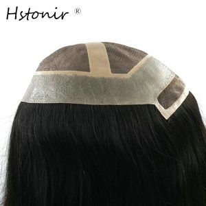 Hstonir Stock Women Swiss Lace Front Hair Replacement Natural Black 14/16 Inch Long Hair Piece HTP011