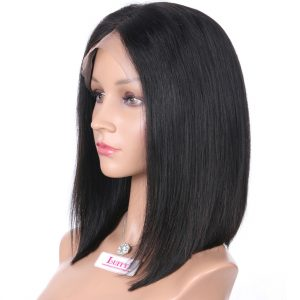 Peruvian Deep Part Lace Front Human Hair Bob Wigs For Black Women Short Straight Non-Remy Hair Natural Color 130 density