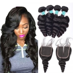 Malaysian Loose Wave 3 Bundles With Closure 100% Human Hair Weave Bundles with Baby Hair Closure Non-Remy Hair