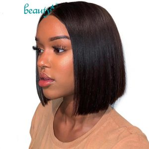 Short Bob Wig 6-14Inch Brazilian Straight Remy Hair Lace Front Human Hair Wigs Lace Frontal Wig For Black Women