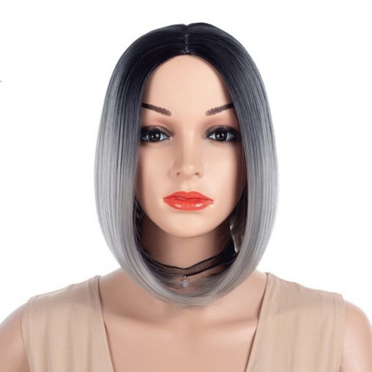12inch Middle Part Straight Black Grey Ombre Bob Wig Synthetic Hair Two Tone Pink Red Green Blue Short Woman Wigs
