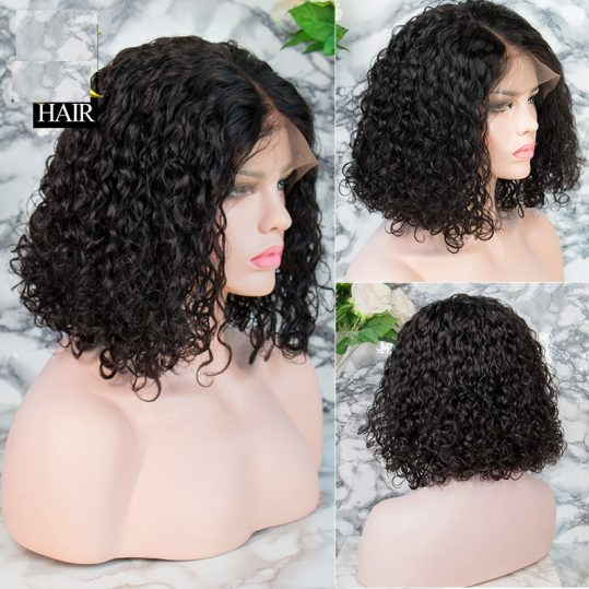 Curly Bob Lace Front Human Hair Wigs For Women Natural Color Remy Brazilian 13x4 Black Lace Wig Middle Part Full End 130-150%