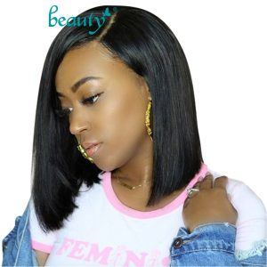 Straight Short Lace Front Human Hair Wigs Bob Wigs For Black Women Brazilian Remy Pink Ombre 613 Blonde Frontal Wig
