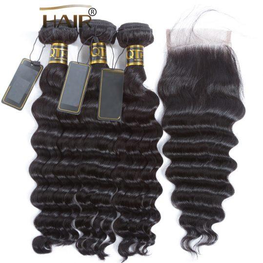 Loose Deep Wave Bundles With Closure Human Hair Bundles With Closure Brazilian Virgin Hair Weave Bundles With Closure Hair
