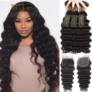 Loose Deep Wave Bundles With Closure Human Hair Bundles With Closure Brazilian Virgin Hair Weave Bundles With Closure Hair