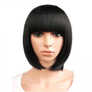 "Short Straight Hair Synthetic Black Brown White Blonde 12"" 9 color Cosplay Bob Wig Bangs Heat Resistant Women Peruca"