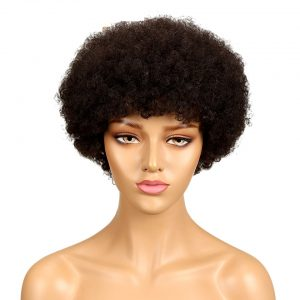 Short Brazilian Afro Kinky Curly Wig Color 2# Dark Brown Remy Human Hair Kinky Curly Non Lace Wigs For Women
