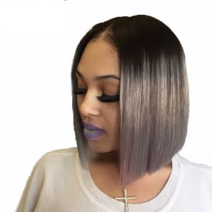 Ombre Gray Lace Front Human Hair Wig with Black Roots 130 Density Lace Frontal Short Bob Cut 13*3 Wig Brazilian Remy Hair