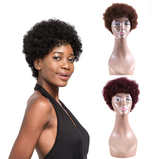 Afro Kinky Curly 8inch Short Bob Wigs For Black Women Natural Black Color Africa Style Brazilian Non-Remy Human Hair Wig