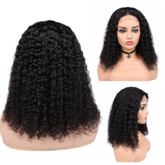 Brazilian Curly Human Hair Lace Front 4*4 Closure Wigs Human Wig Glueless 8 18inch with 150% Density ForBlack Women-in Human Hair Lace Wigs from Hair Extensions & Wigs